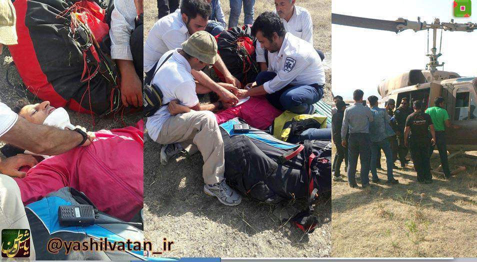 سقوط پاراگلایدر سوار تبریزی در مرند/ اعزام اورژانس هوایی + تصویر